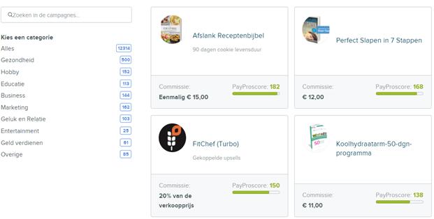 campagne overzicht PayPro